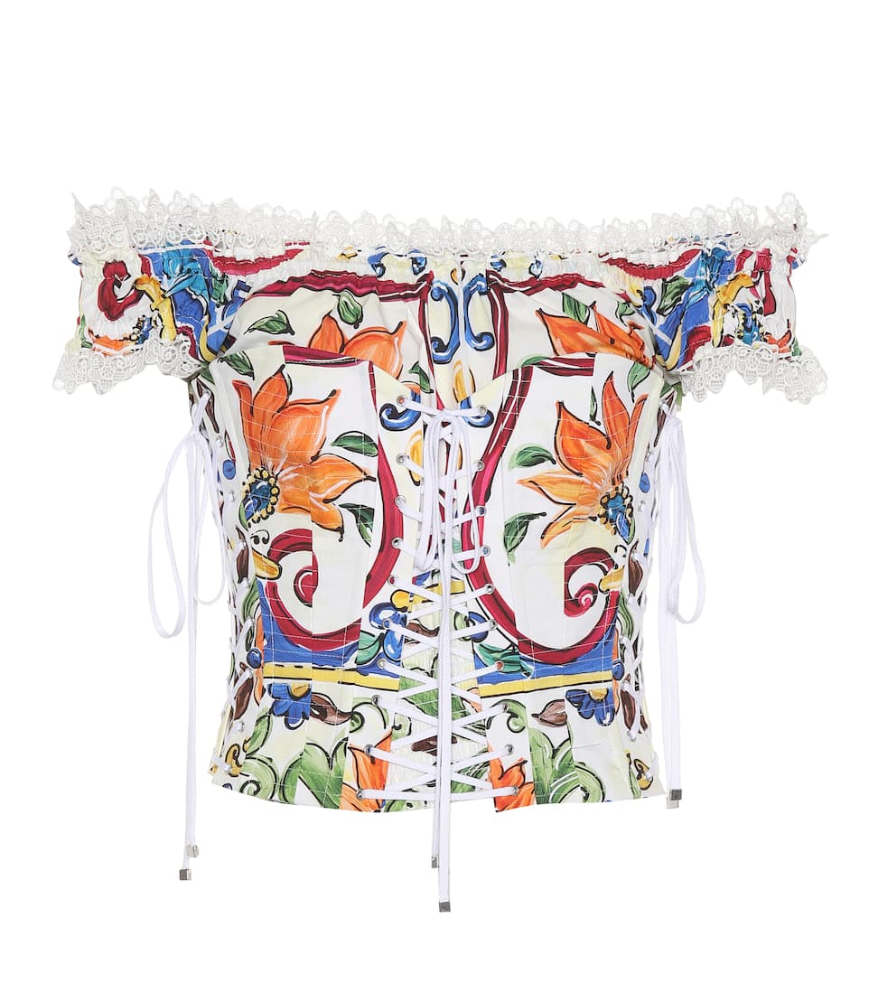 Dolce & Gabbana Printed Bustier Made Of Cotton