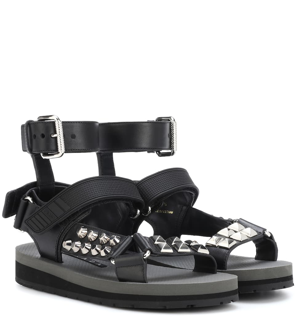 Studded Leather Sandals in Black