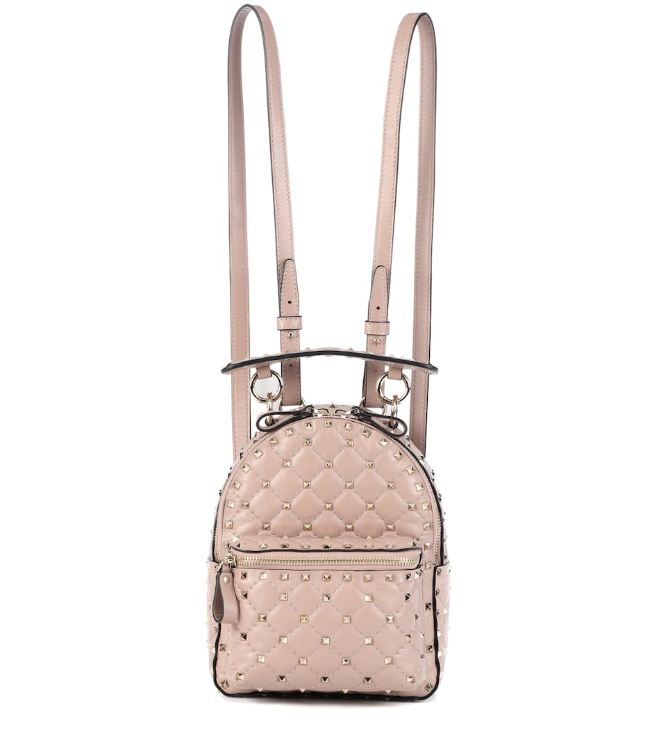 Rockstud Spike Leather Backpack, Female