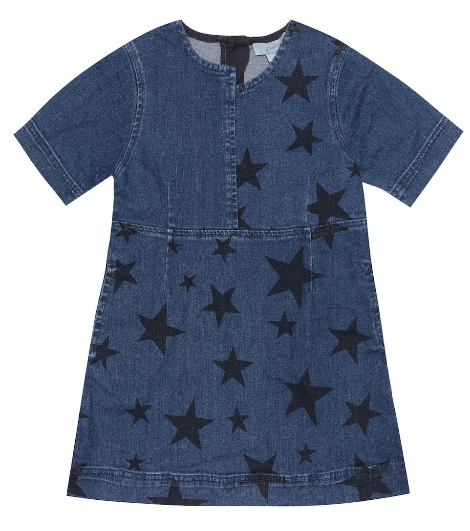 Stella Mccartney Kids' Star Print Stretch Cotton Denim Dress In Blue