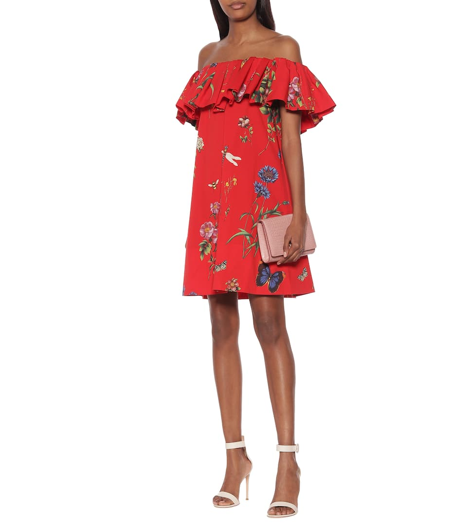 Oscar de la Renta - Floral stretch-cotton minidress