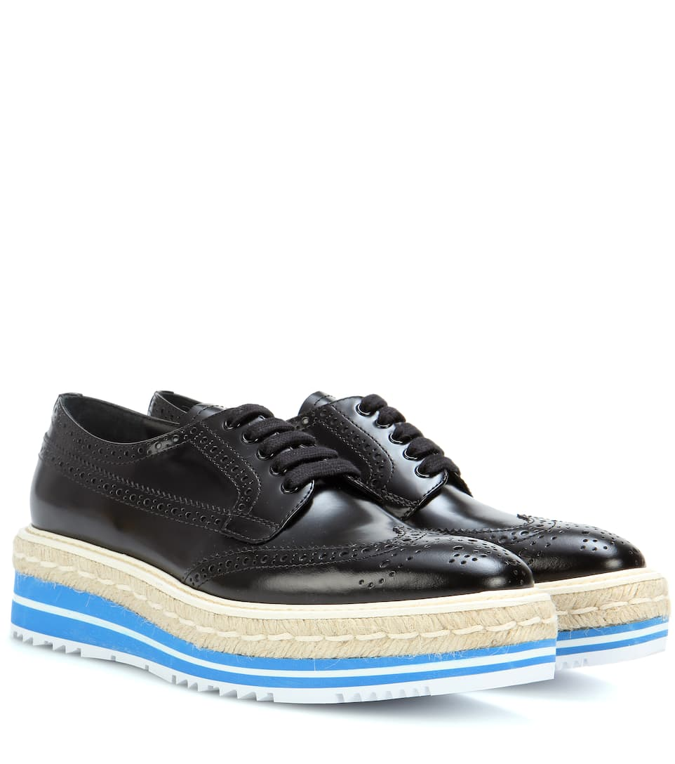 Wingtip Leather Brogues by Prada