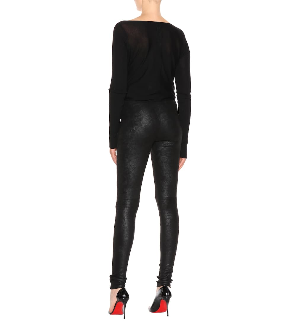 Rick Owens Stretch-leather leggings Black Clearance Manchester 4gg1jnqr