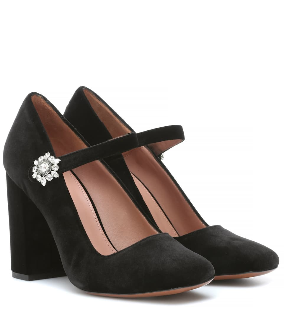 74df61531b25 Velvet Mary Jane Pumps