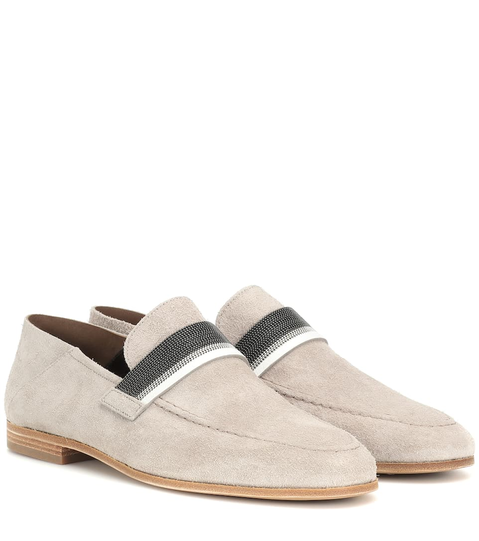 d459c9cde20 Embellished Suede Loafers - Brunello Cucinelli