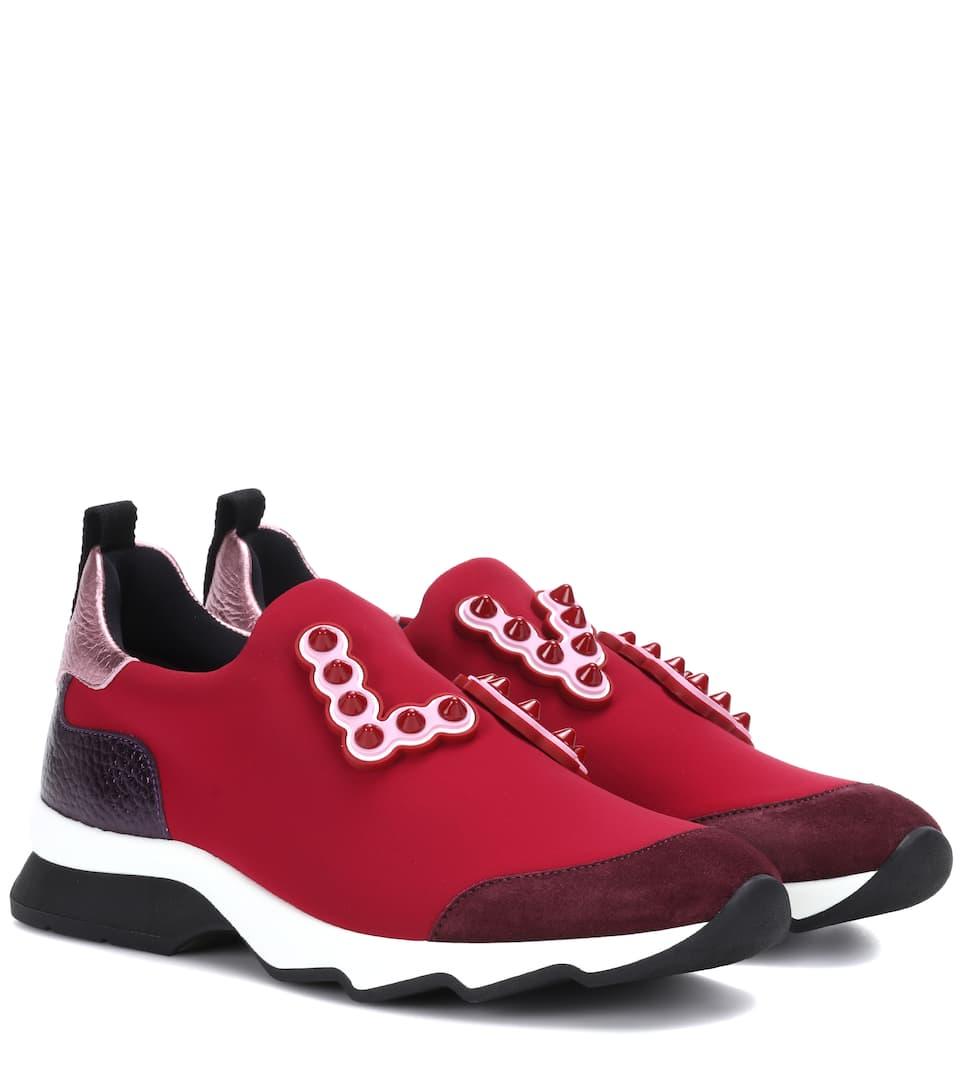 Fendi Rouge Zapatillas con slip on adornos TIIO8q