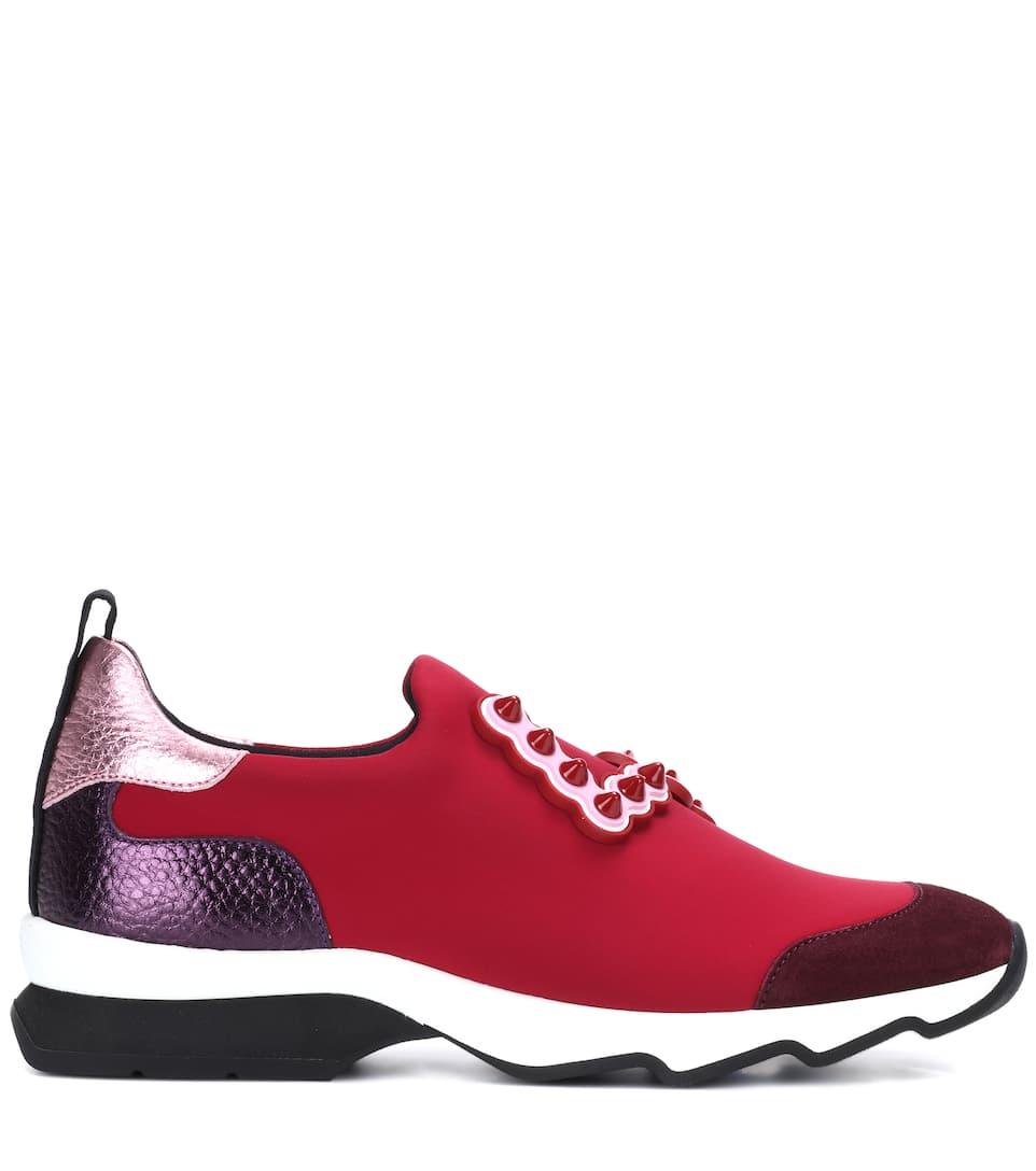 Fendi Verzierte Sneakers aus technischem Gewebe