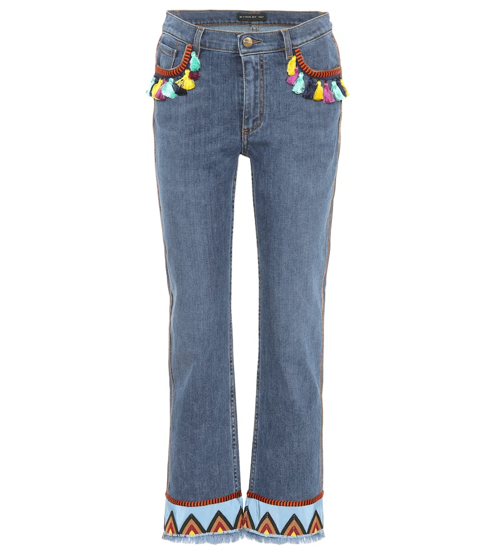 Embroidered Jeans With Tassels in Blue