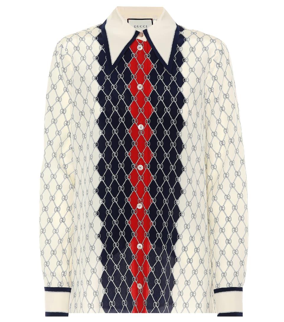 Gucci Bedruckte Bluse aus Seide Rabatt Großer Rabatt Für Schönen Verkauf Online Billig Verkaufen Mode-Stil LfVWpLVP