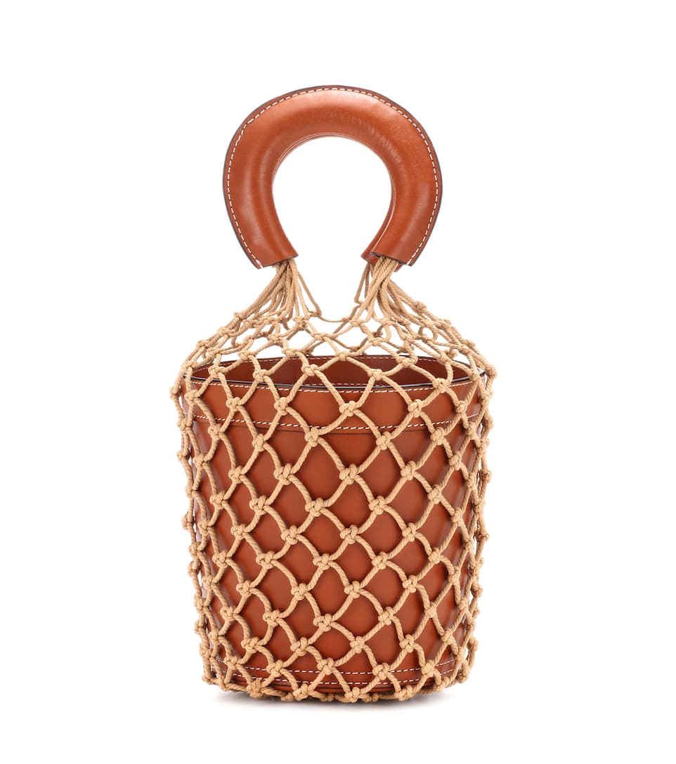STAUD Brown Crochet Moreau Leather Bucket Bag