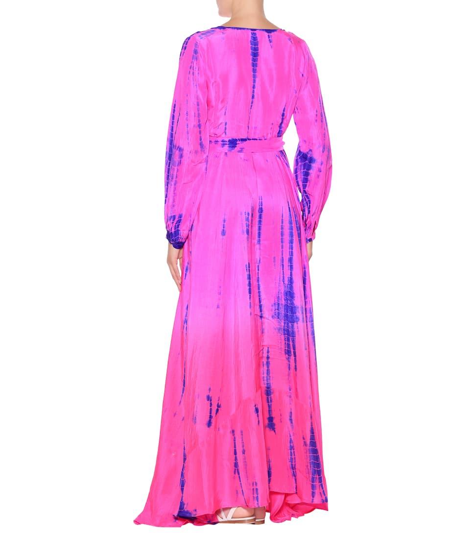 tie Anna Kosturova vestido dye Orange de seda Neon maxi dxXwqnrAfx