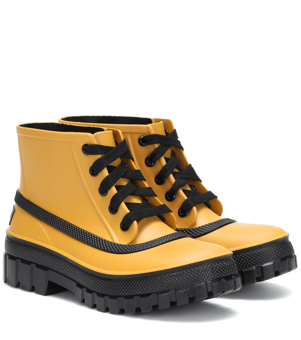 Glaston Lace Up Rubber Rain Boots by Givenchy