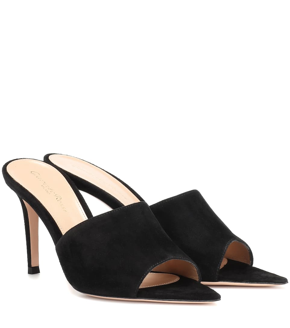 Pointy 85 Suede Mules by Gianvito Rossi