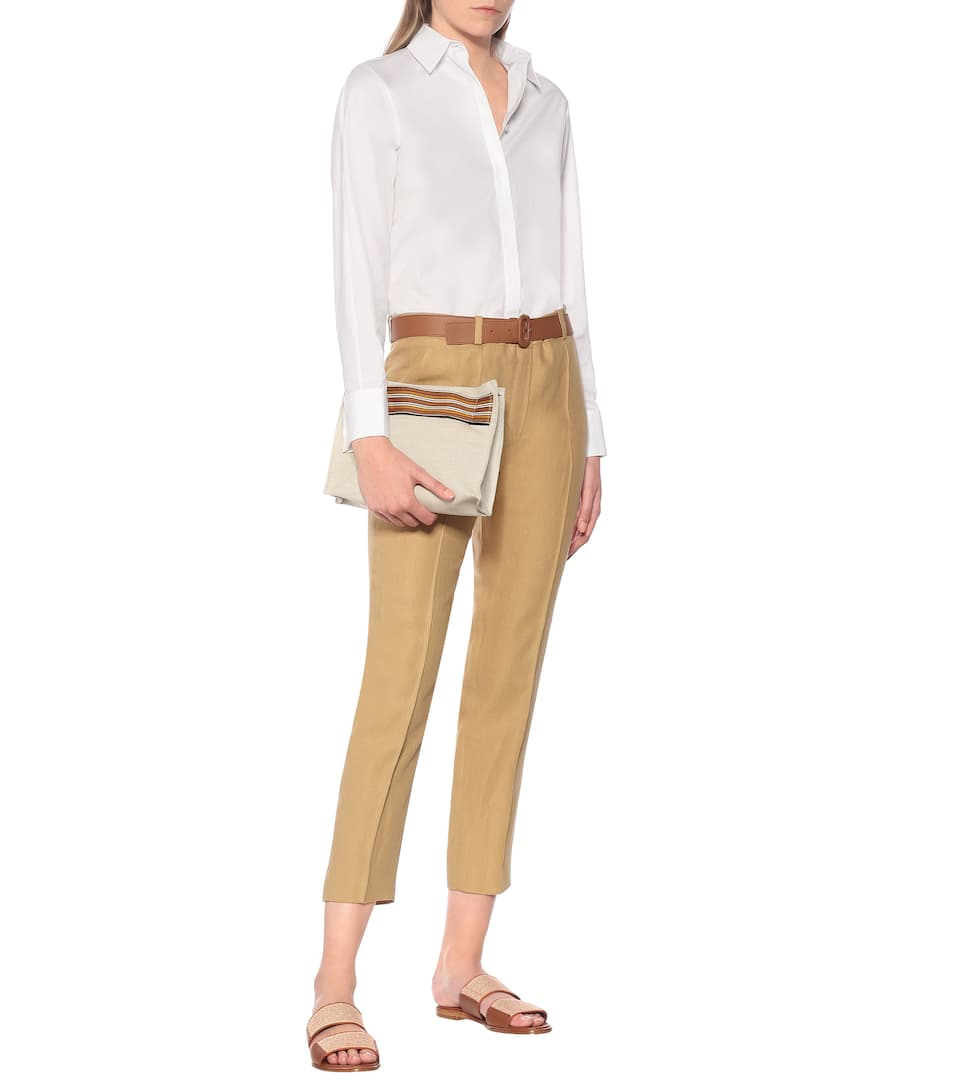 High-Rise Slim Linen Pants - Loro Piana