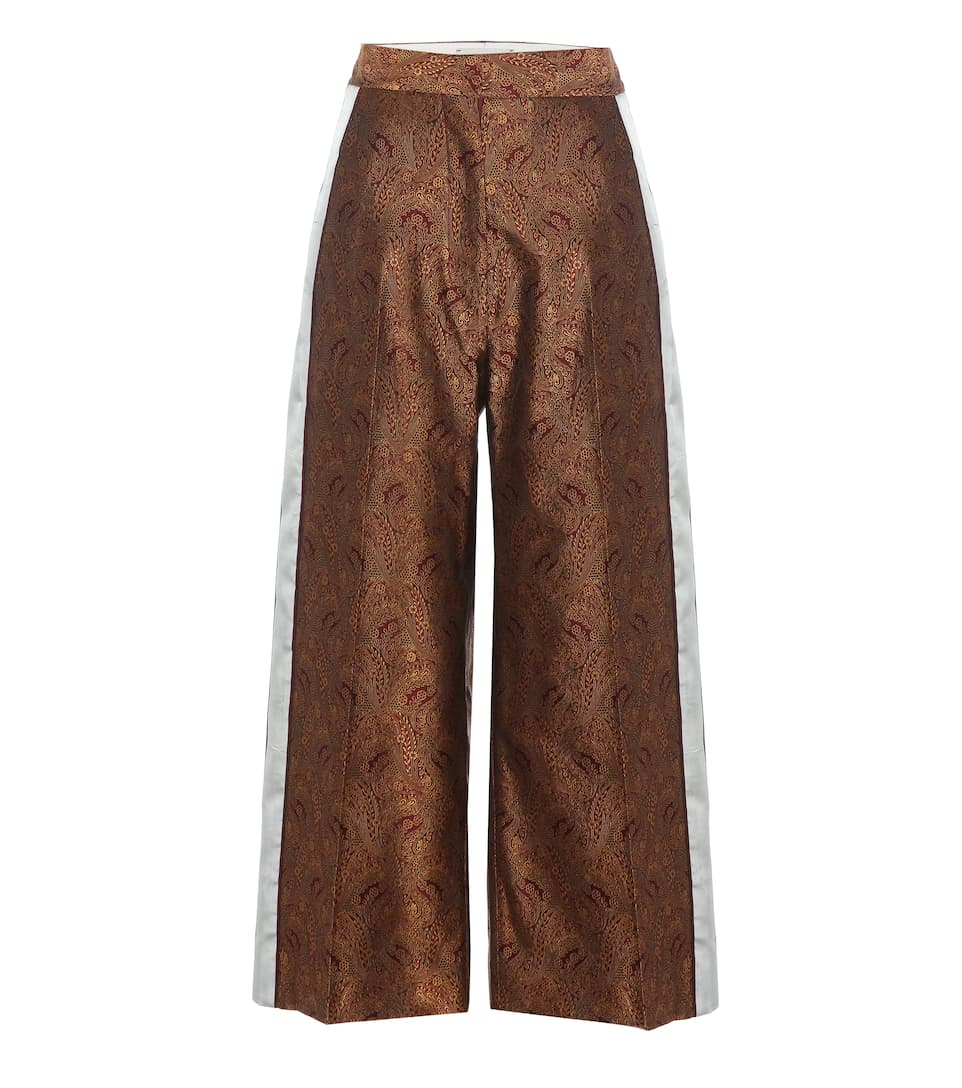 Hillier Bartley Silk Jacquard Wide-Leg Cropped Trousers, Burgundy