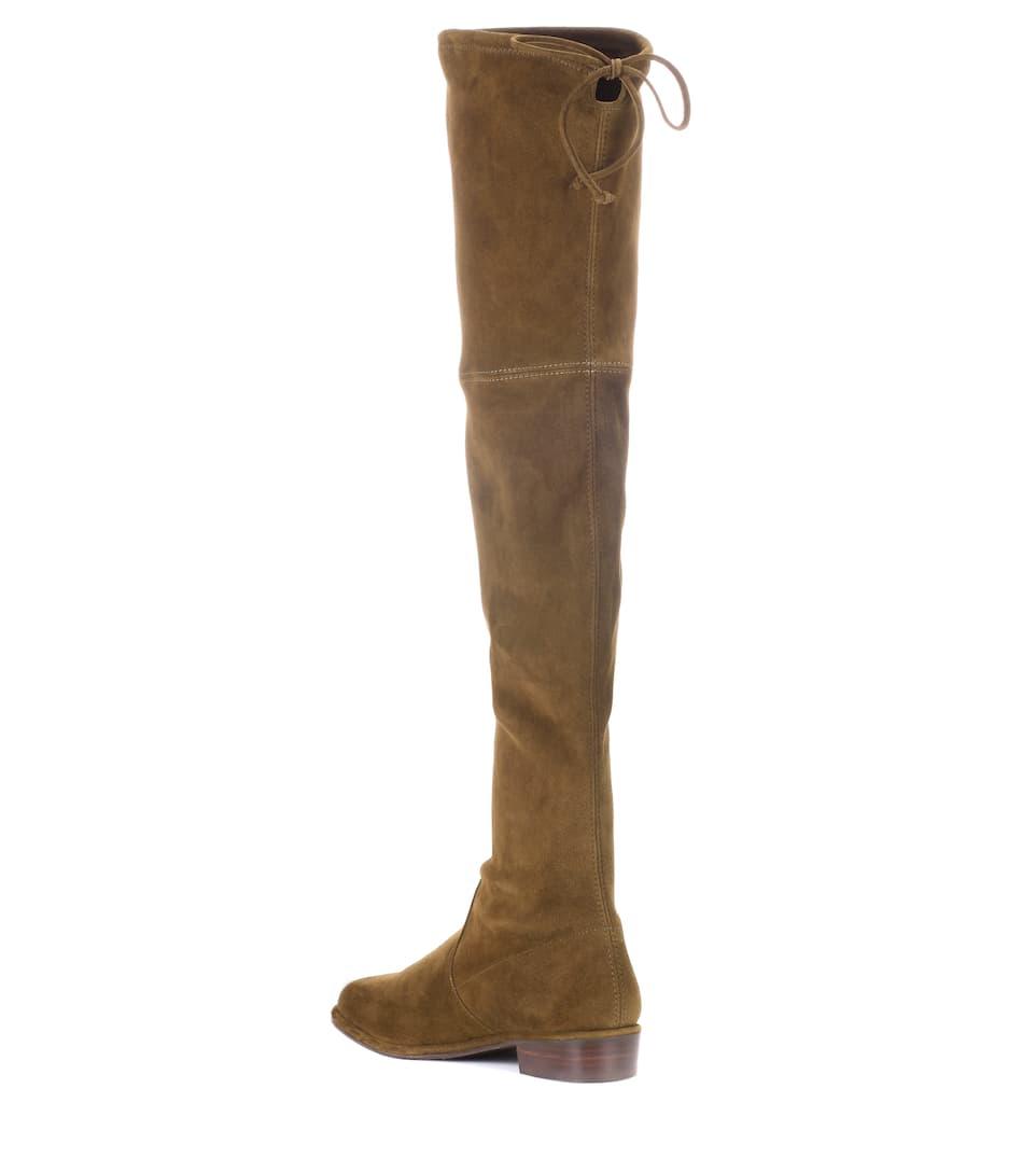 Stuart Weitzman Overknee-Stiefel Lowland Skimmer aus Veloursleder