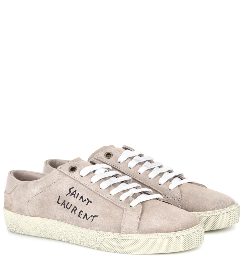 5f043921cbc4 Saint Laurent Court Classic Sl-06 Ancient Rose Sneakers In Neutrals ...