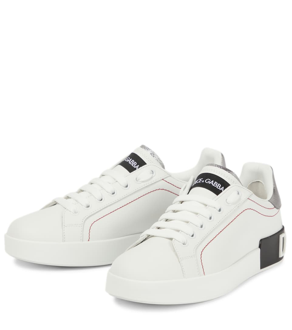 Dolce & Gabbana Portofino leather sneakers Bianco/Silver Cheap For Nice dthJri2cMs