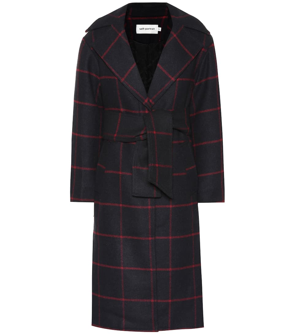 Checked Wool Blend Coat by Self Portrait