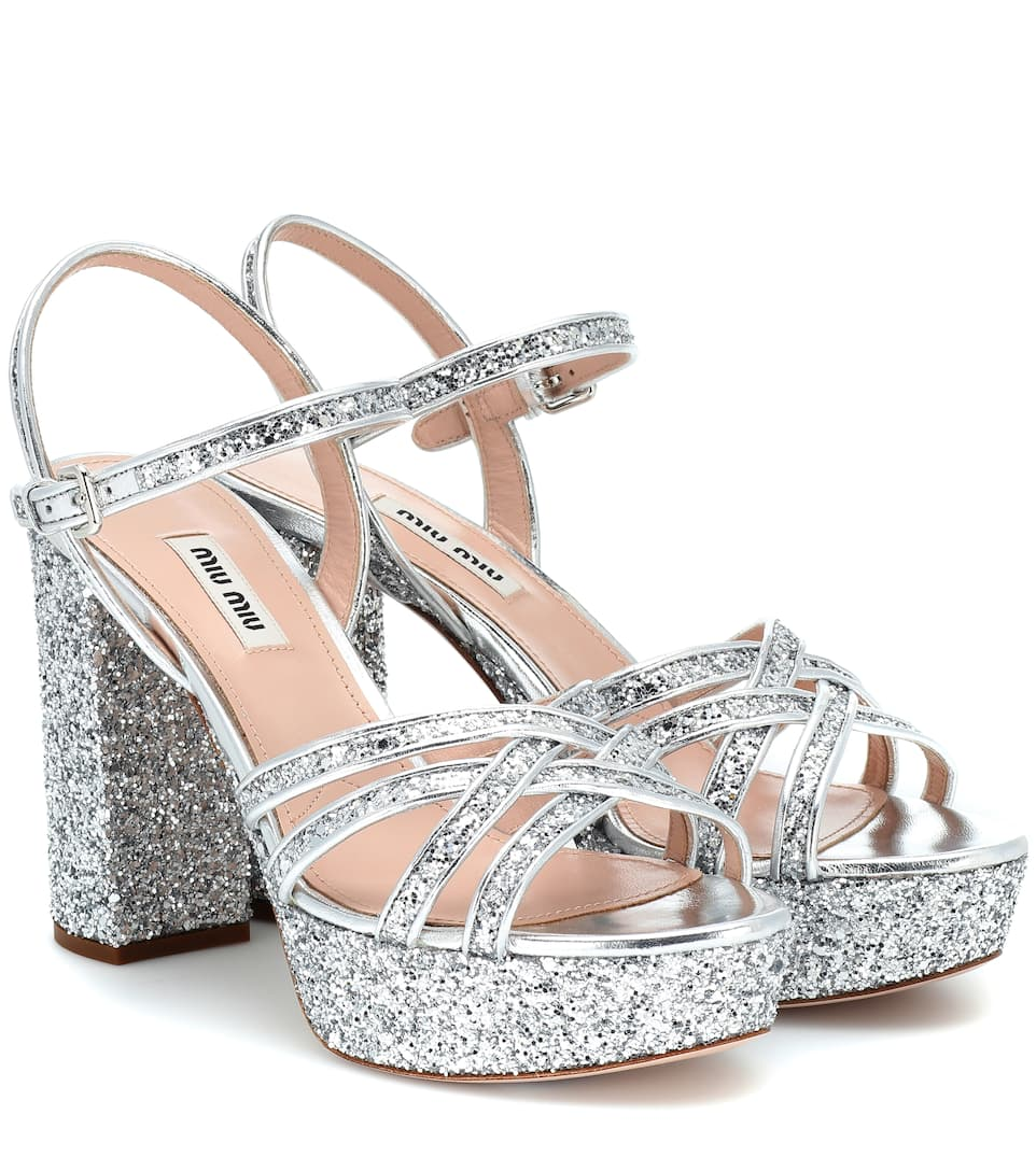 d90c1f44efb4 Glitter Leather Platform Sandals | Miu Miu - mytheresa.com
