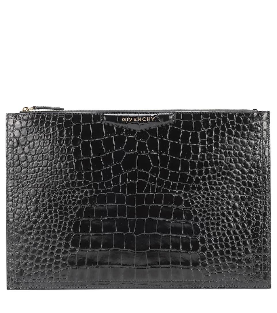 Givenchy Clutch Antigona croc-effect leather clutch