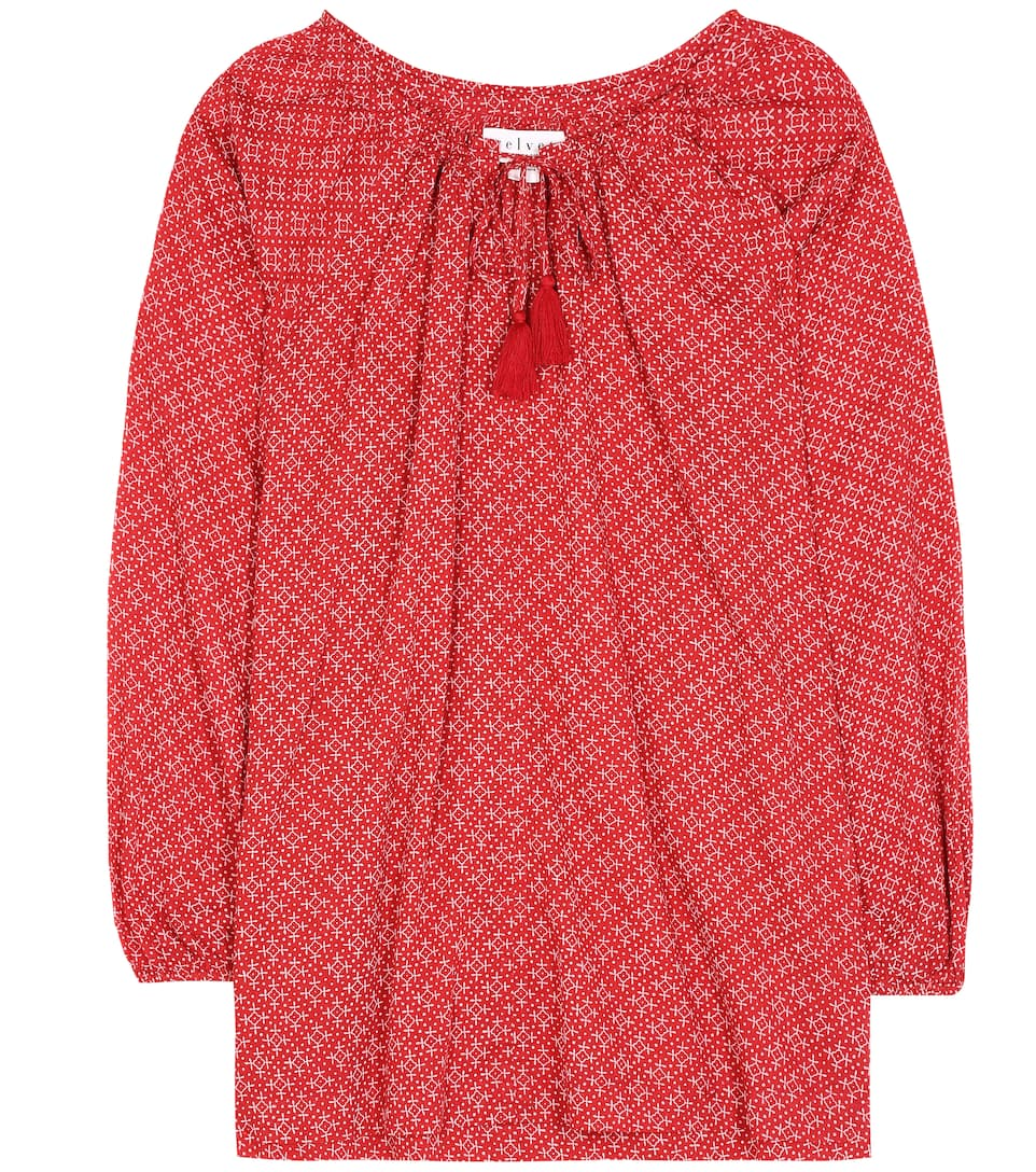 Hollie Printed Cotton Top in Red