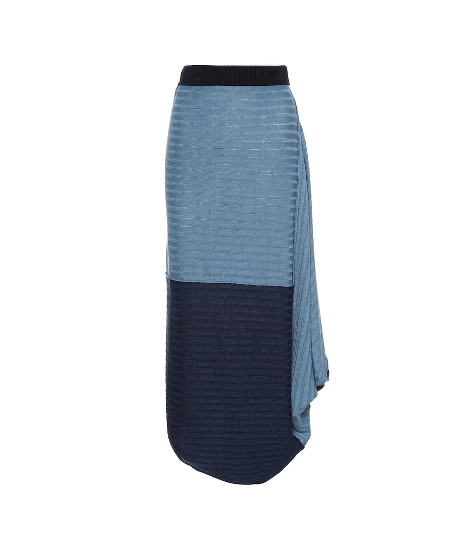 Jw Anderson Infinity Gathered Linen Maxi Skirt In Blue
