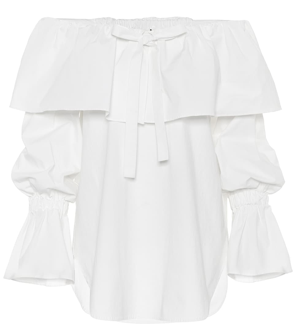 Clara Cotton Off-The-Shoulder Top, Cotton Poplin Off-White