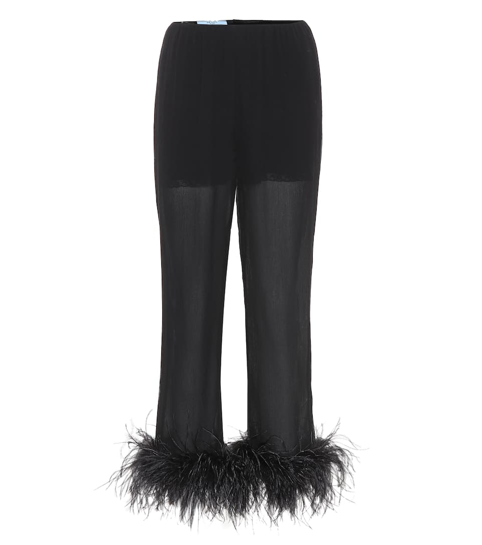 Feather Trimmed Silk Trousers by Prada