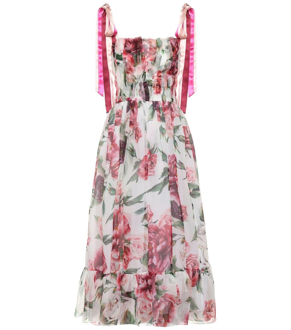 Soie Dolceamp; Robe Longue En Gabbana Imprimée hdQtrCs