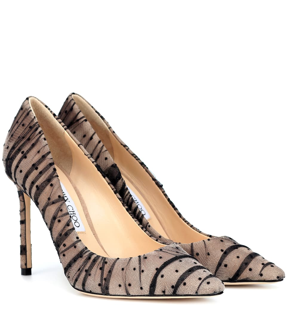 Romy 100 Tulle And Suede Pumps by Jimmy Choo