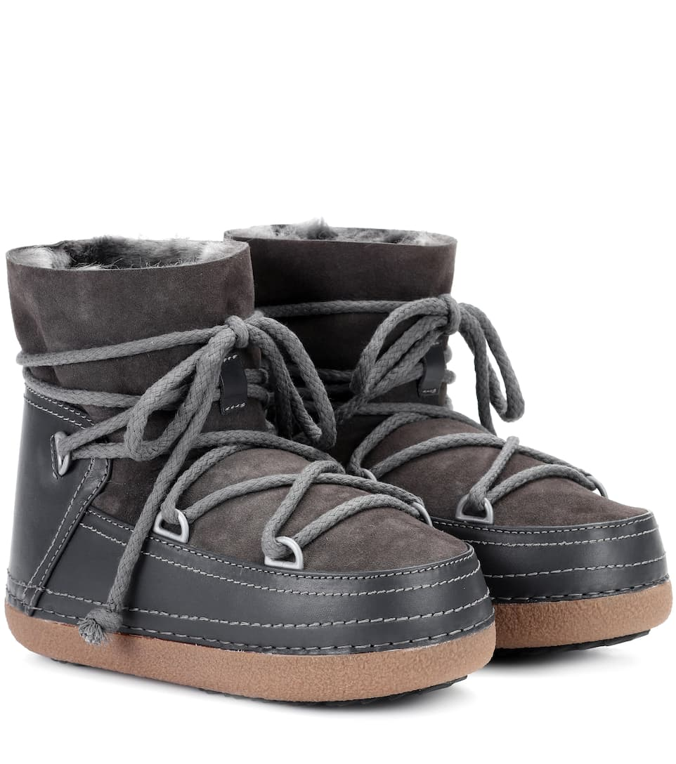 INUIKII Classic Low Leather Boots in Grey