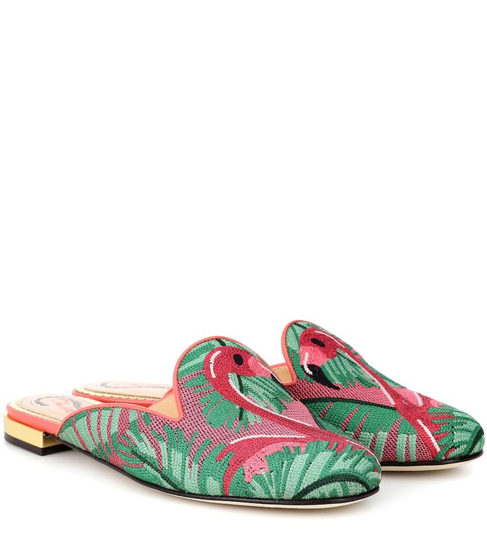 Charlotte Olympia Needlepoint flamingo slippers 0mTU2v8Dv