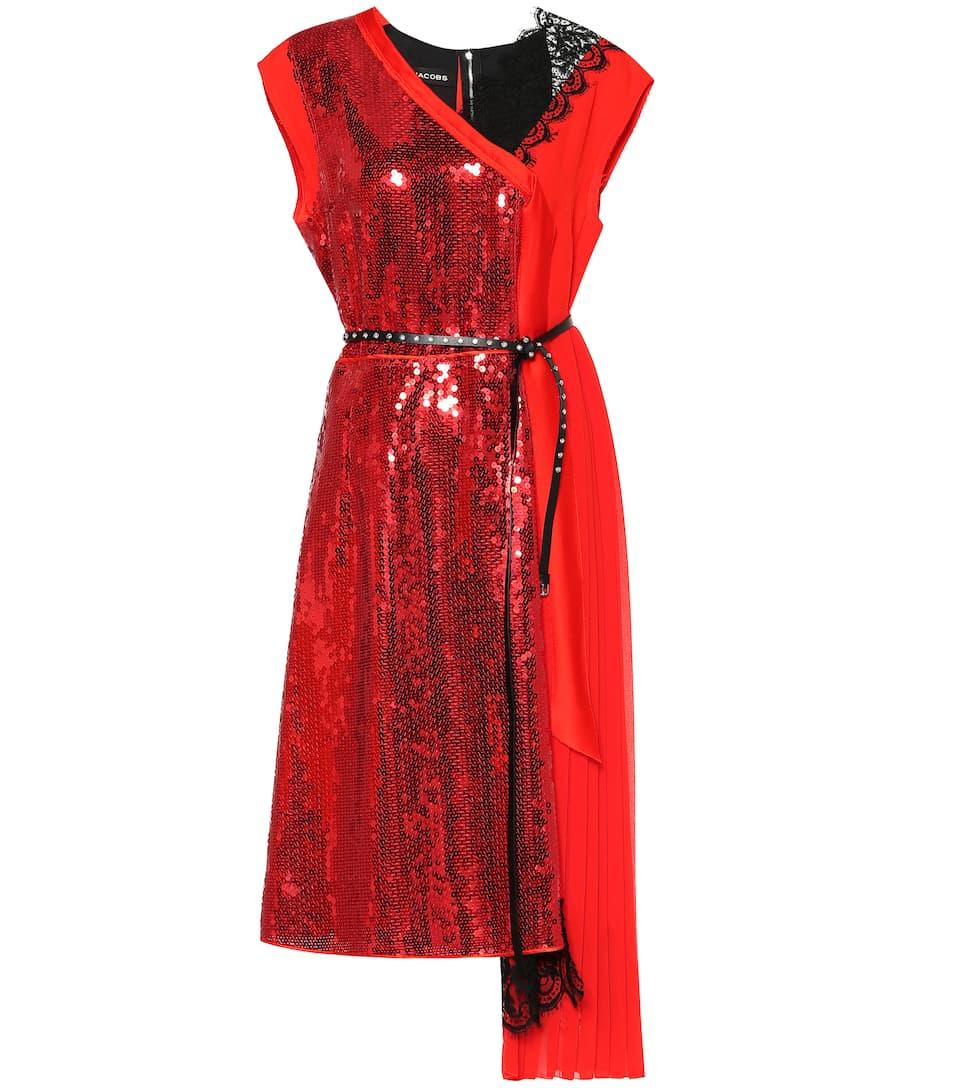 Marc Jacobs - Robe asymétrique en crêpe à dentelle et sequins
