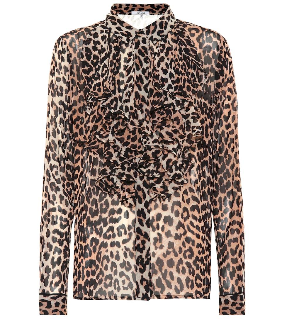 85e2edf7 Leopard Print Georgette Blouse | Ganni - mytheresa