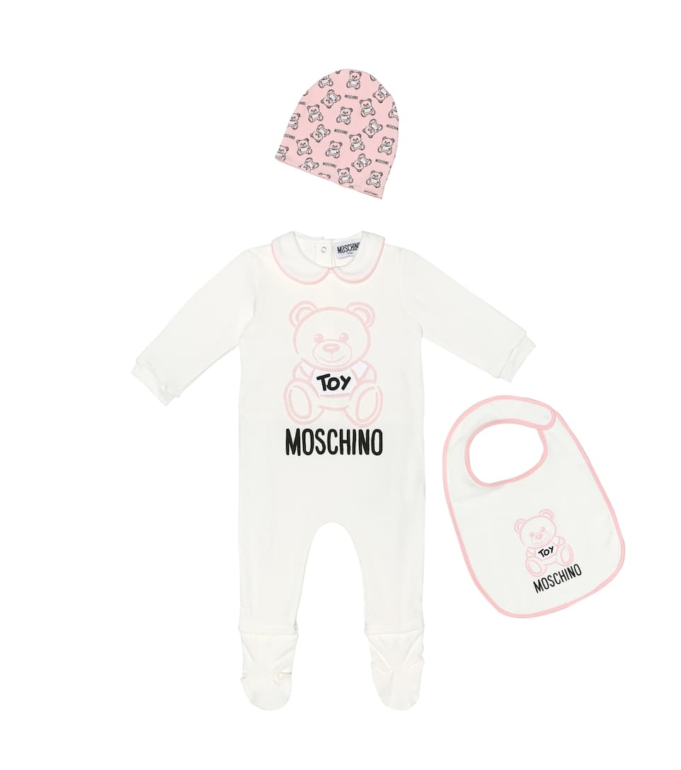 6f191530 Baby stretch-cotton onesie, hat and bib set