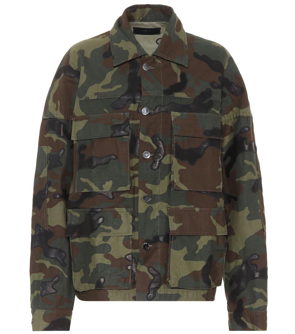 Amiri Oversize Camouflage-Jacke aus Baumwolle und Leder