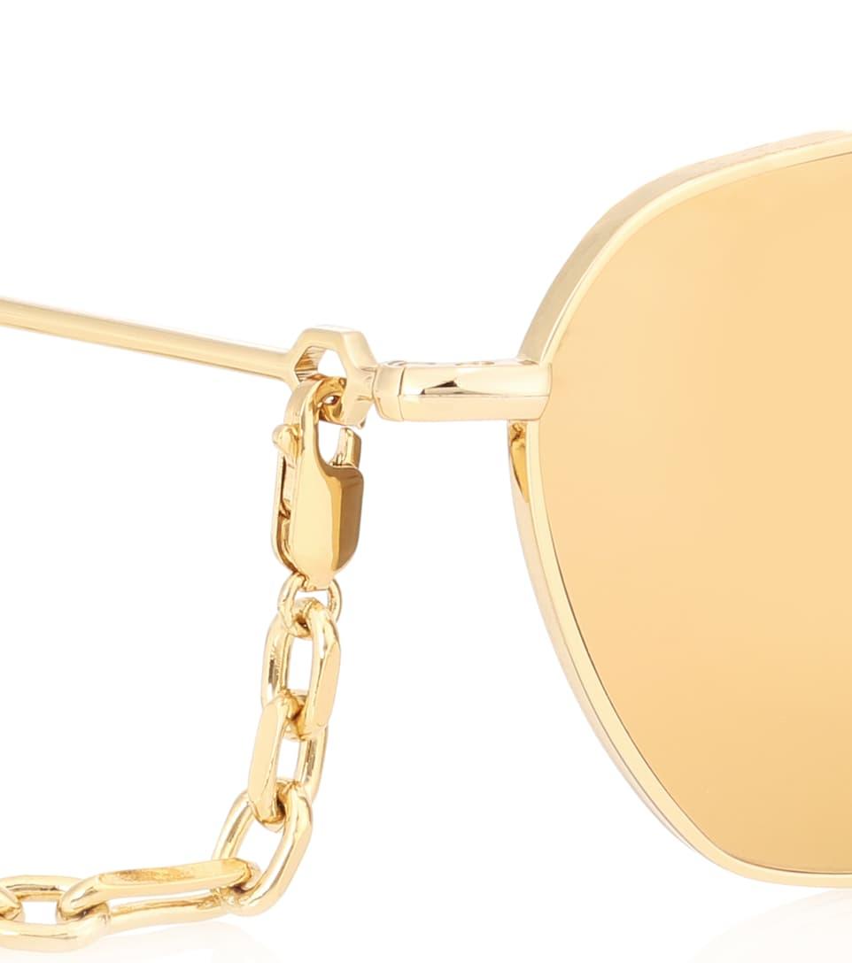 X Linda Farrow C4 Gold-Plated Sunglasses - Alessandra Rich Jeu Commercialisable 7Ga4fH