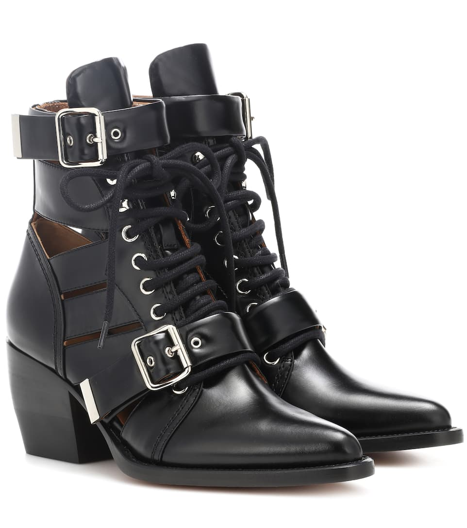 Chloé Rylee Lace-Up Leather Mid-Calf Boots 2vDHU672t