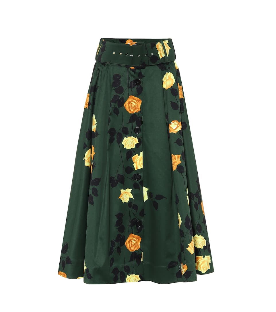 Msgm Rose-print High-rise Belted Cotton Midi Skirt In Green
