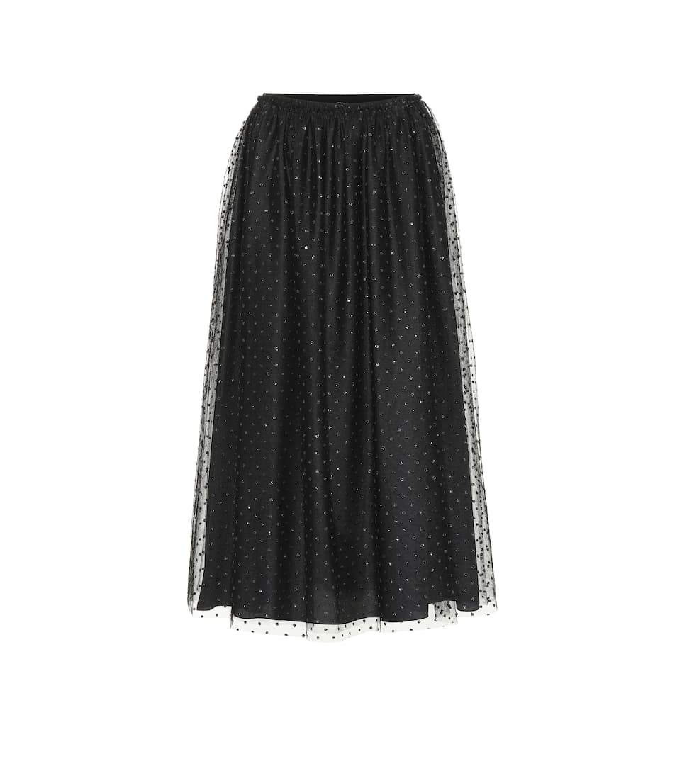 Red Valentino Redvalentino Tulle Pleated Midi Skirt In Black