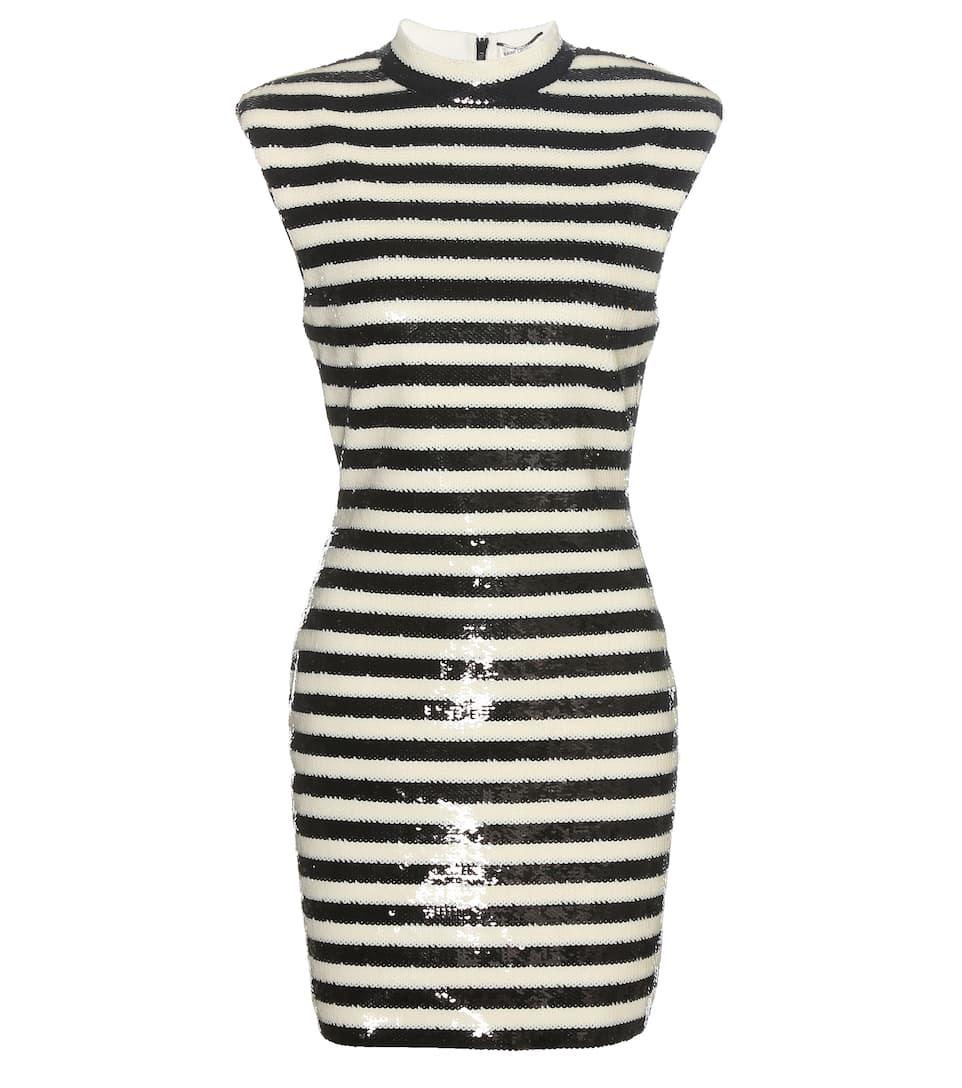 Saint Laurent Paillettenverziertes Kleid mit Streifen