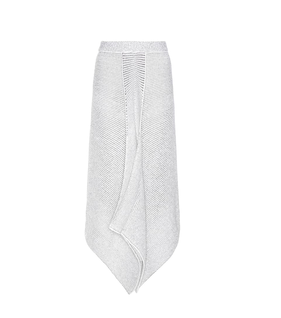 Stella McCartney Asymmetric wool-blend knitted skirt