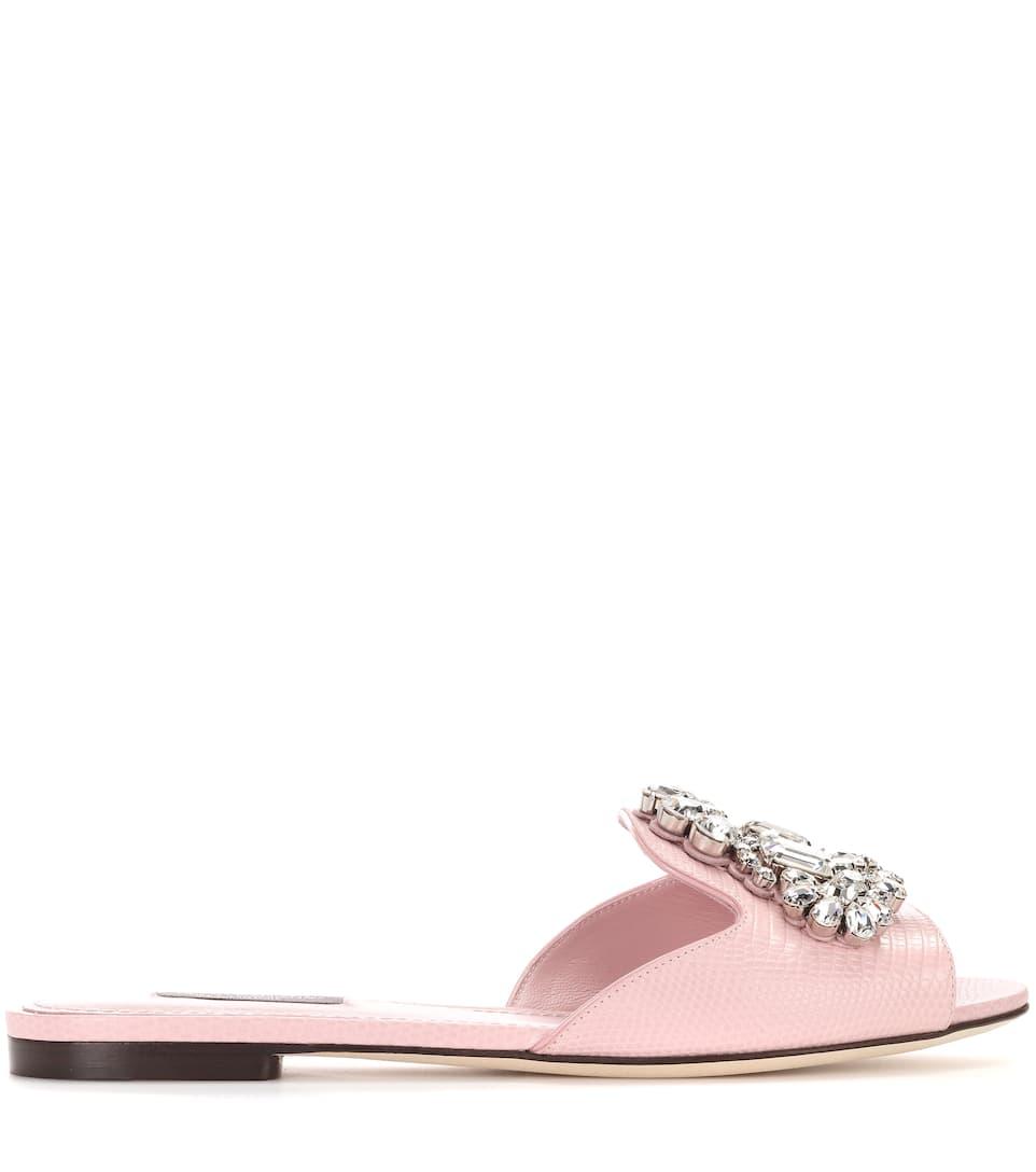amp; Dolce con Rosa amp; Gabbana Carne Diapositivas adornadas cristal qq1wHZ5rx
