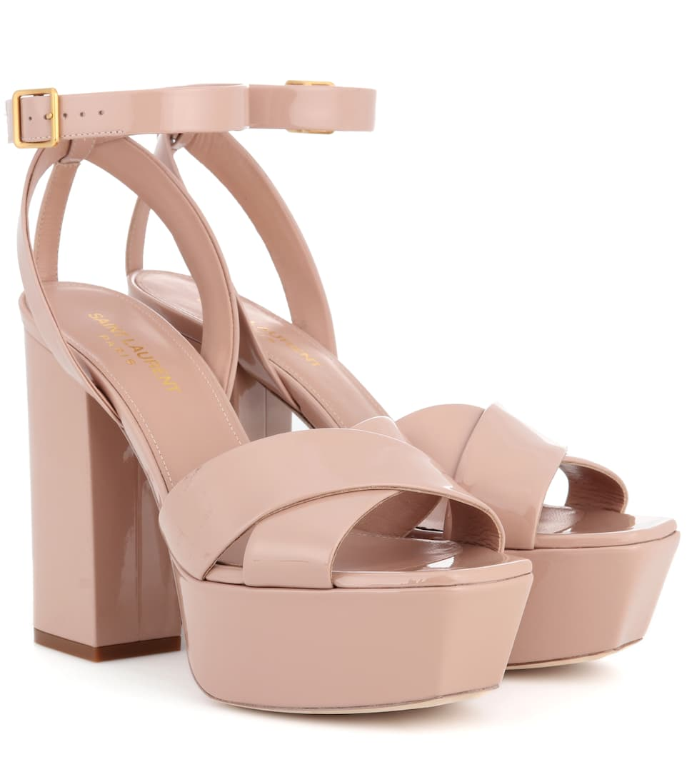 Farrah 80 Leather Plateau Sandals in Beige