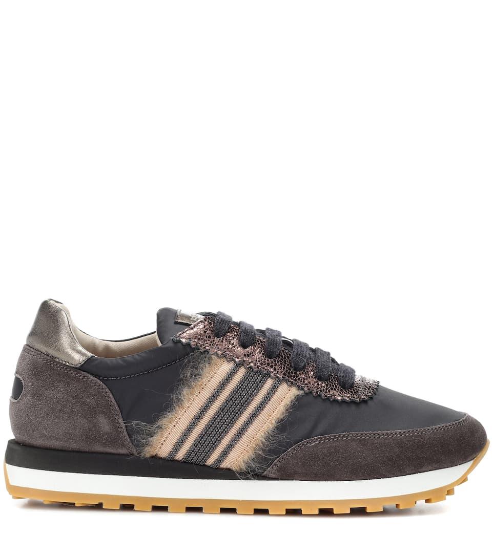 adornos marrón zapatillas Cucinelli de ante Brunello con n4WxtZ