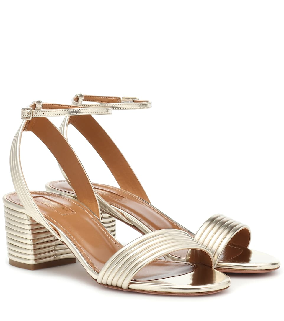 26688bde27b Sundance 50 Metallic Leather Sandals - Aquazzura