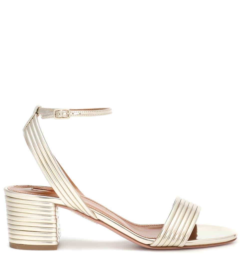 b2dae5c771f Sundance 50 metallic leather sandals. Aquazzura
