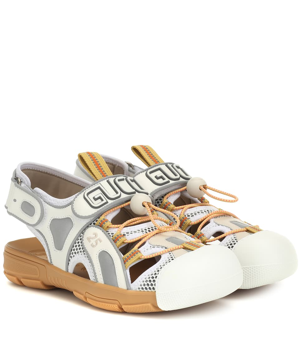 49d87ccd0c1 Gucci - Leather and mesh slingback sandals