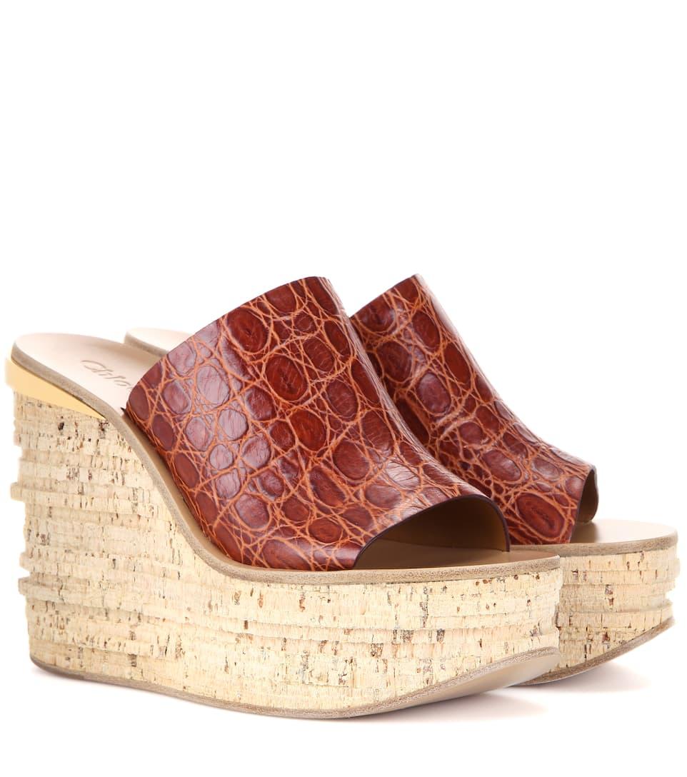 Chloé Camille embossed leather platform wedge sandals